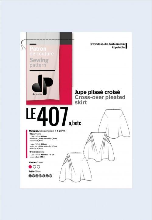 Jupe asymétrique à plis croisés 407 - DP Studio