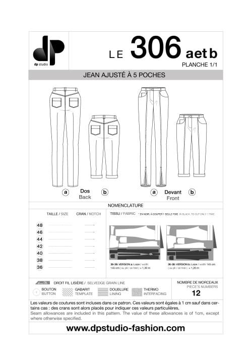 Jean ajusté à 5 poches - 306 a et b - DP Studio