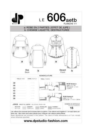 Robe / Chemise ample et déstructurée, en deux parties – 606 a et b - DP Studio