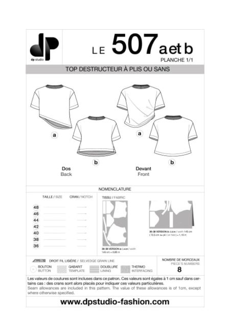 Top à plis, asymétrique - 507 a et b - DP Studio