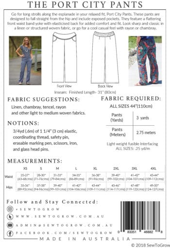 Patron Pantalon Port City - Sew to Grow